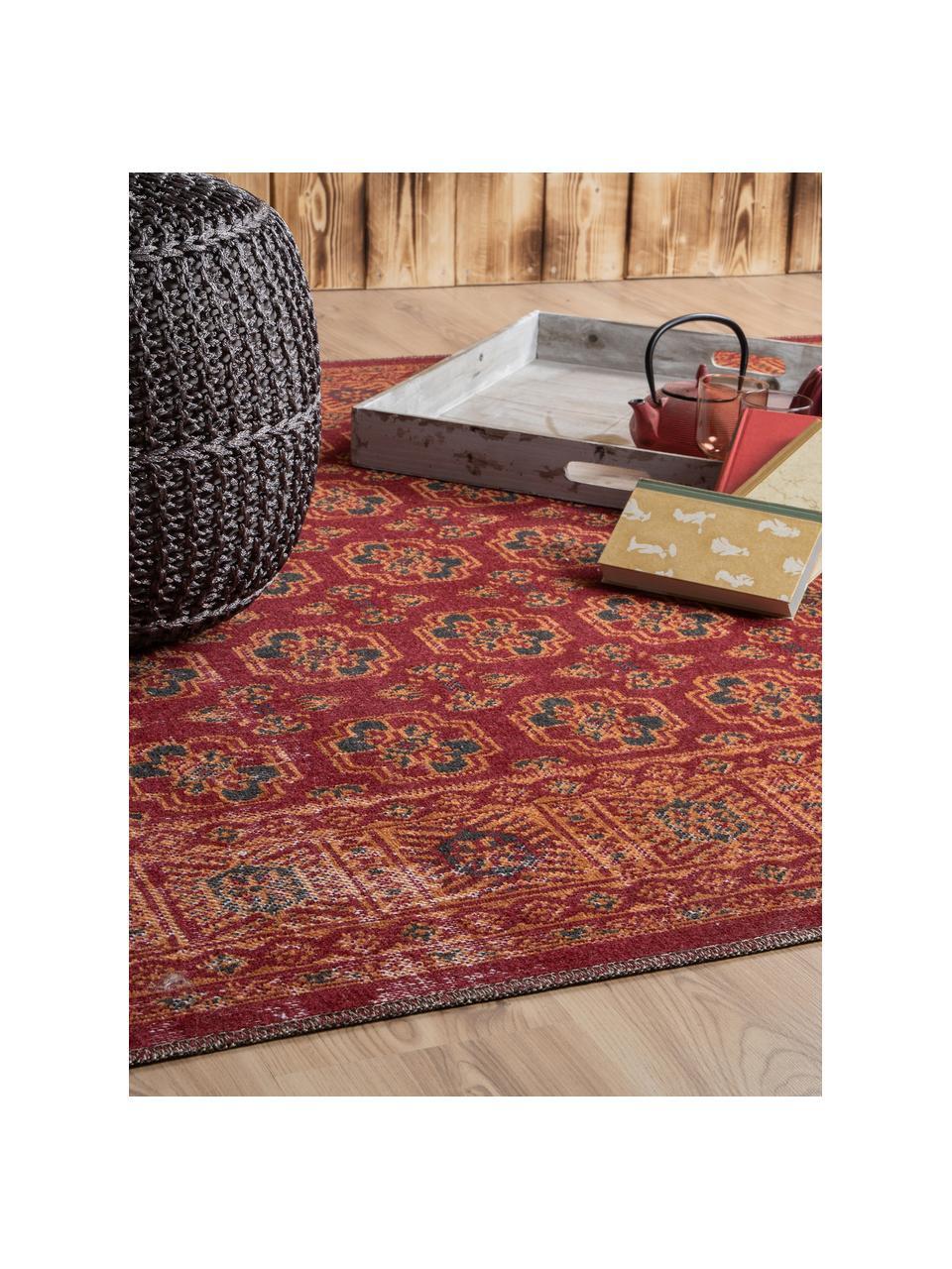 In- & outdoor vloerkleed Tilas in rood/oranje, oosterse stijl, 100% polypropyleen, Rood, oranje, antraciet, B 80 x L 150 cm (maat XS)