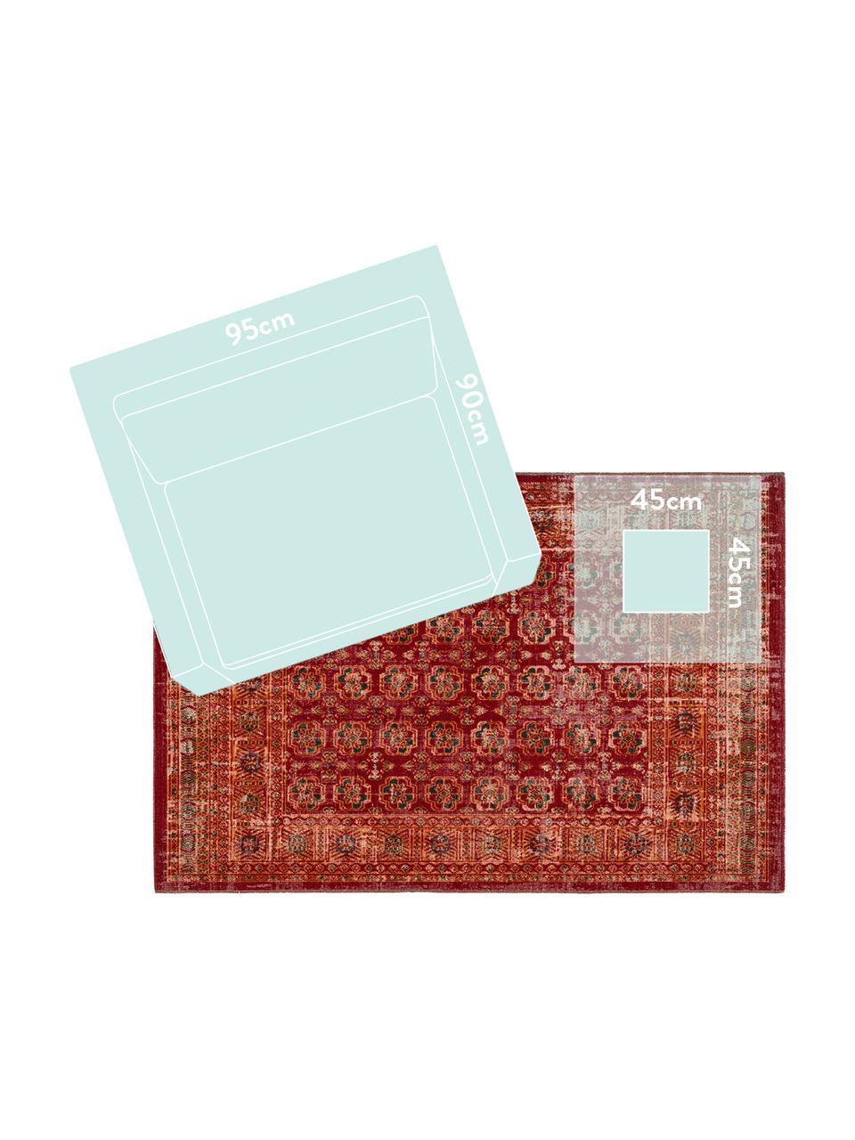 Tappeto orientale rosso/arancione da interno-esterno My Tilas, 100% polipropilene, Rosso, arancione, antracite, Larg. 80 x Lung. 150 cm (taglia XS)