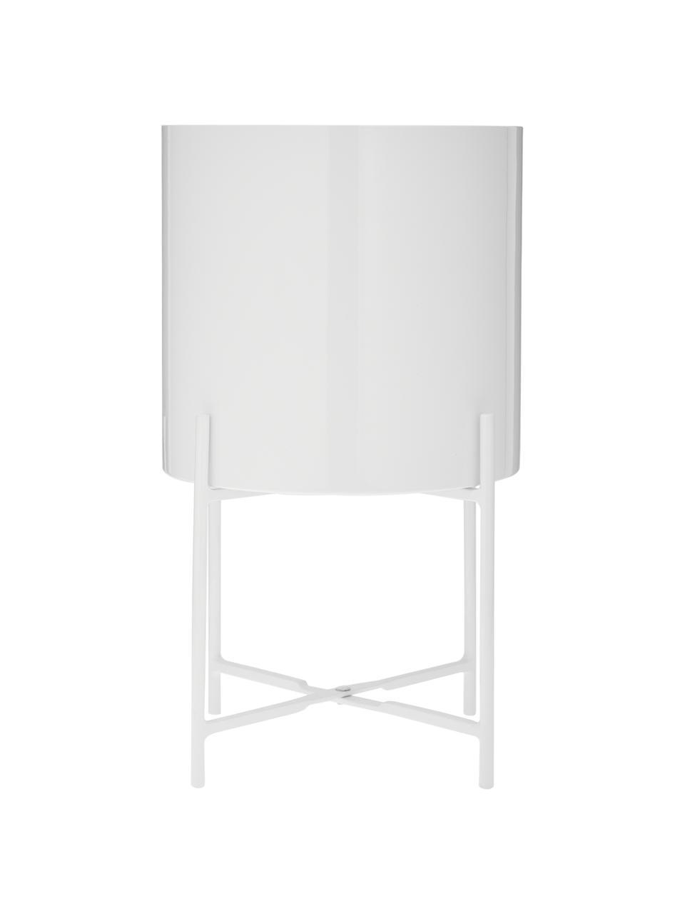 Übertopf-Set Mina aus Metall, 2-tlg., Metall, pulverbeschichtet, Weiß, matt, Sondergrößen