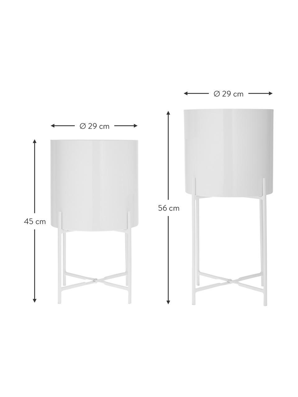 Set 2 portavasi alti in metallo Mina, Metallo verniciato a polvere, Bianco opaco, Set in varie misure