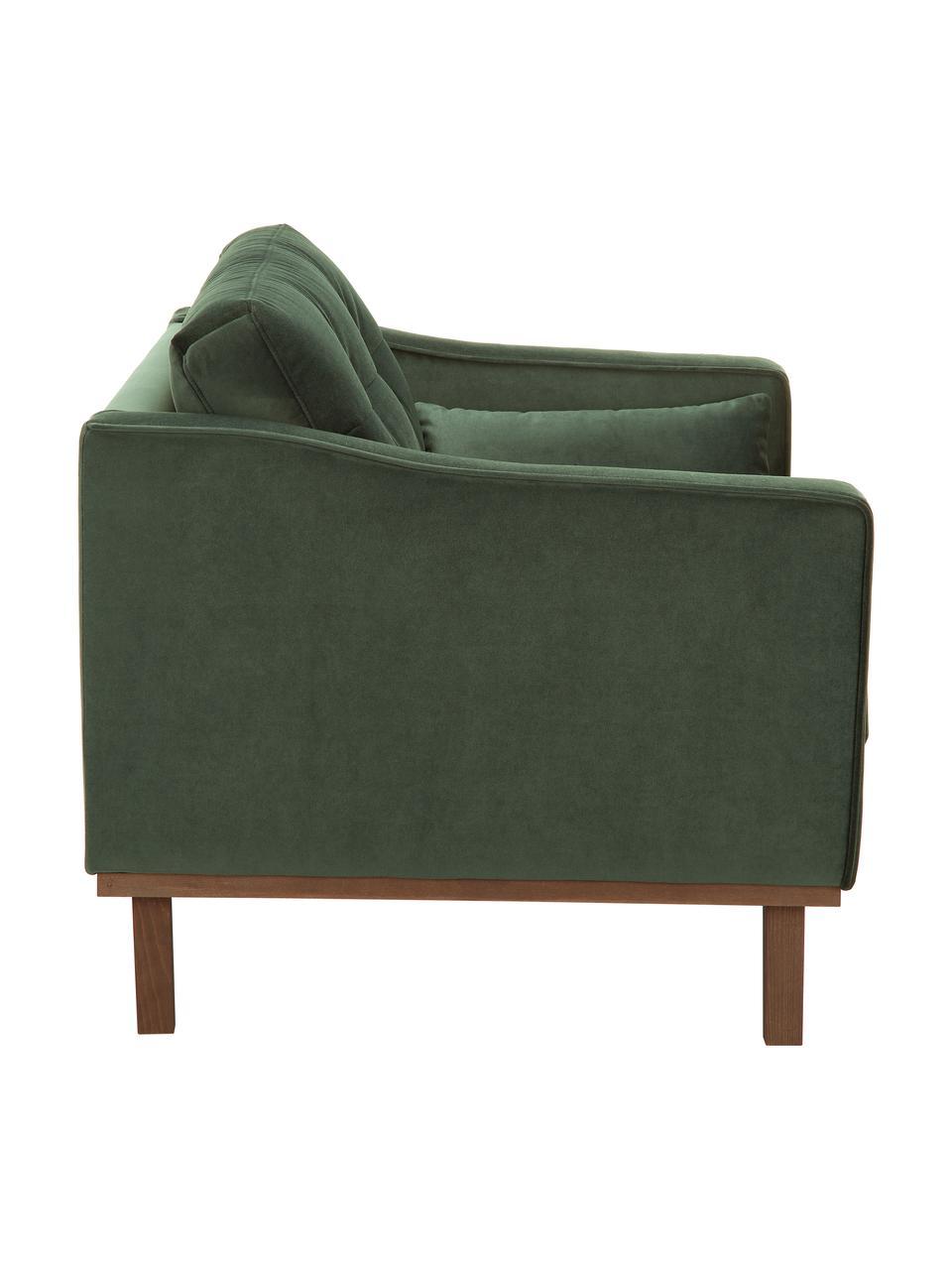 Fotel z aksamitu  z nogami z drewna bukowego Alva, Tapicerka: aksamit (wysokiej jakości, Nogi: lite drewno bukowe, barwi, Aksamitny oliwkowy, S 102 x G 92 cm