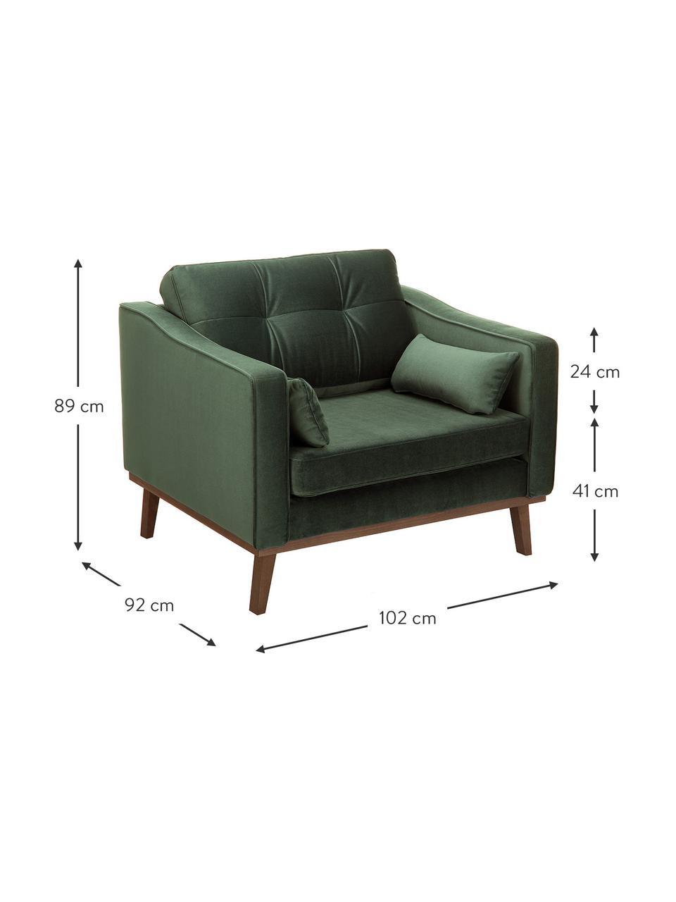 Klassieke fluwelen fauteuil Alva in groen met beukenhouten poten, Bekleding: fluweel (hoogwaardig poly, Frame: massief grenenhout, Poten: massief gebeitst beukenho, Olijfgroen, B 102 x D 92 cm