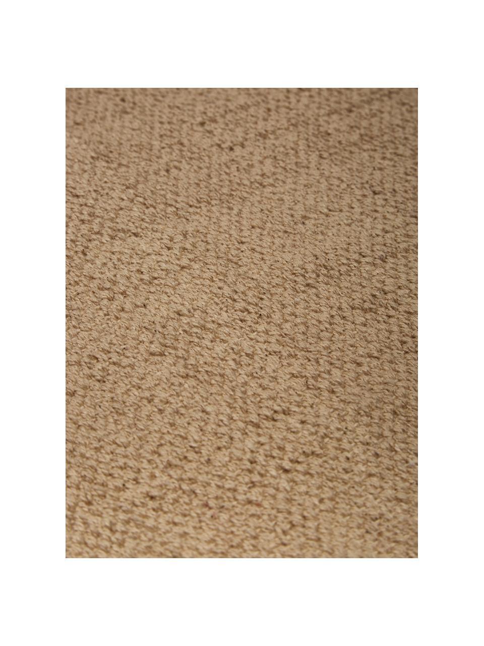 Dünner Baumwollteppich Agneta in Taupe, handgewebt, 100% Baumwolle, Beige, B 200 x L 300 cm (Größe L)
