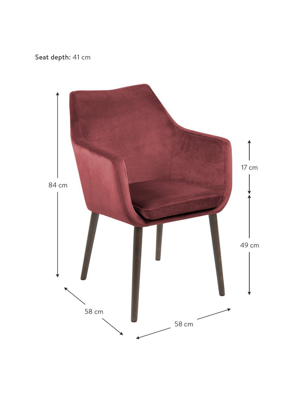 Krzesło z podłokietnikami z aksamitu Nora, Tapicerka: aksamit poliestrowy Dzięk, Nogi: metal powlekany, Koralowy, czarny, S 58 x G 58 cm