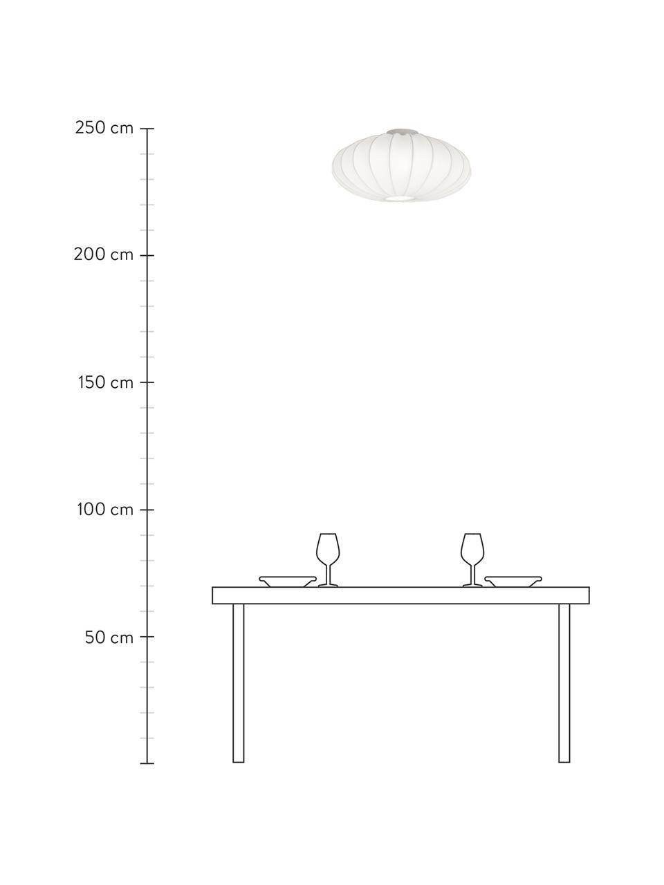 Plafoniera in tessuto Mamsell, Paralume: 60 % poliestere, 40 % ray, Baldacchino: metallo, Bianco, Ø 55 x Alt. 28 cm