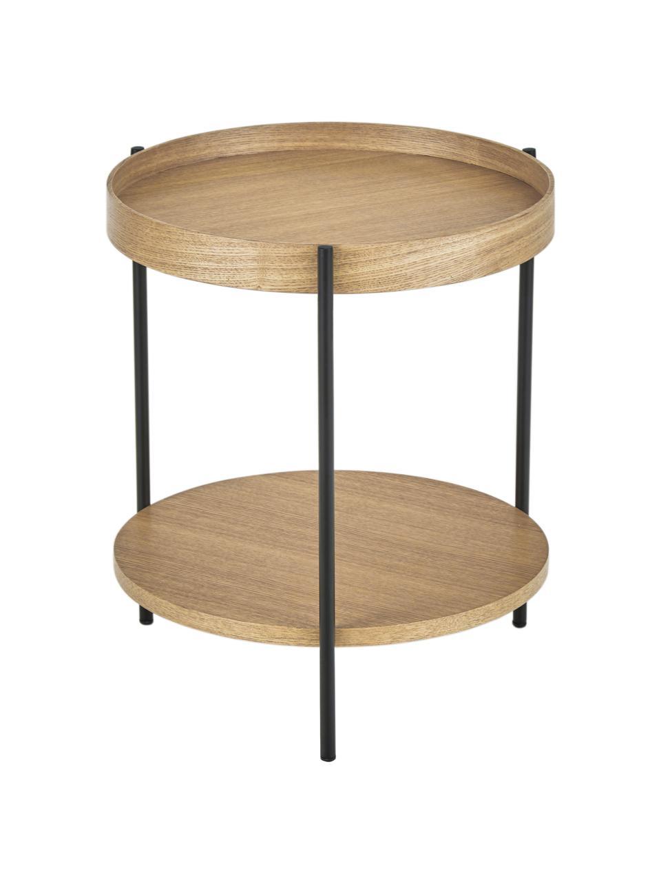 Stolik pomocniczy z drewna Renee, Blat: płyta pilśniowa średniej , Stelaż: metal malowany proszkowo, Drewno jesionowe, Ø 44 x W 49 cm