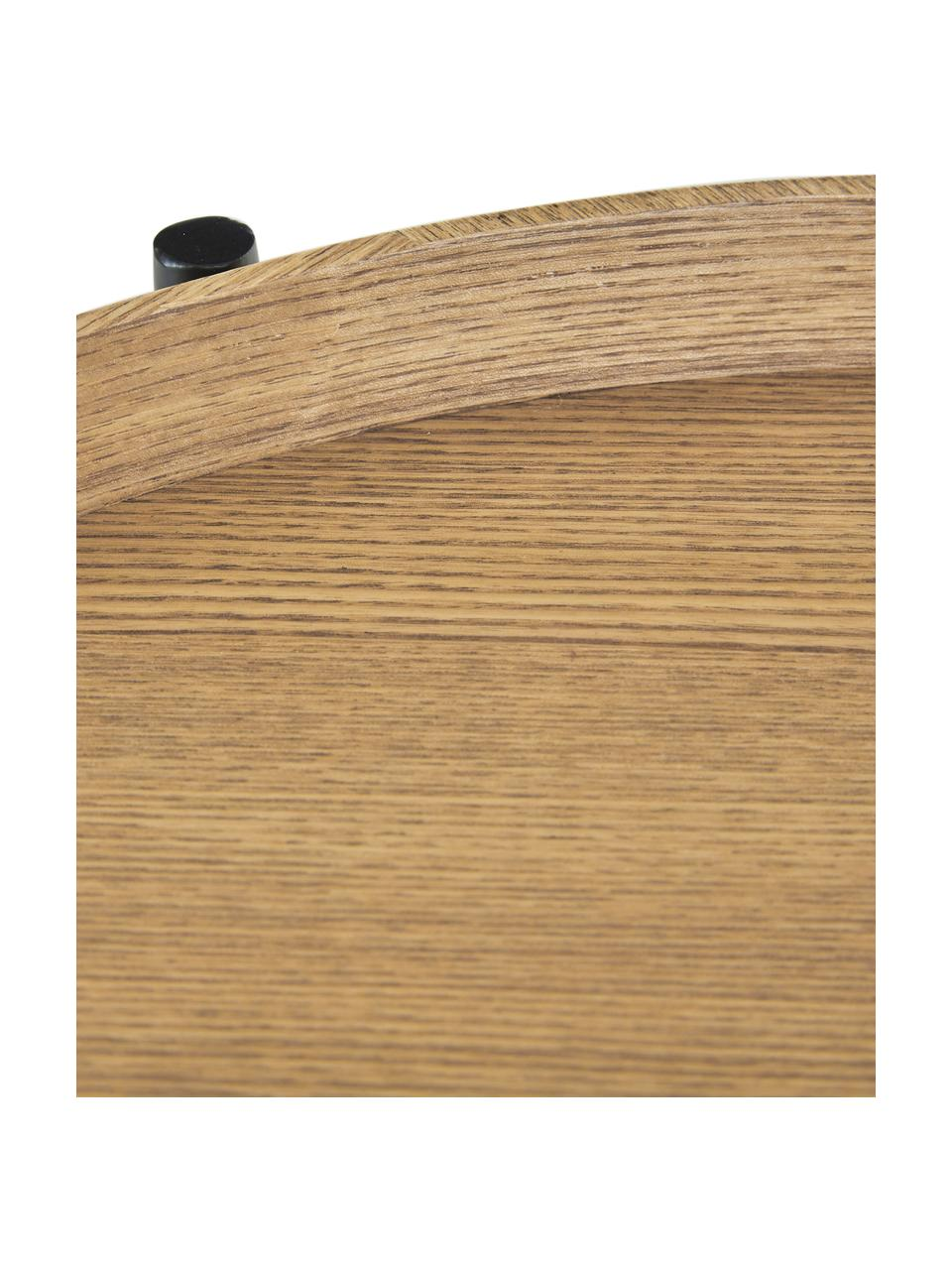 Tavolino rotondo con piano d'appoggio Renee, Ripiani: pannello di fibra a media, Struttura: metallo, verniciato a pol, Legno di frassino, Ø 44 x Alt. 49 cm