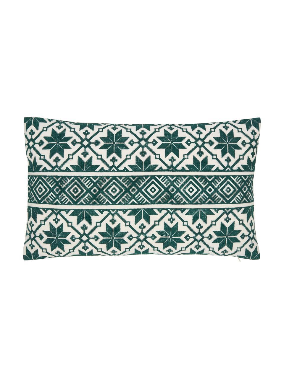 Haftowana poszewka na poduszkę Shetland, 100% bawełna, Zielony, kremowobiały, S 30 x D 50 cm