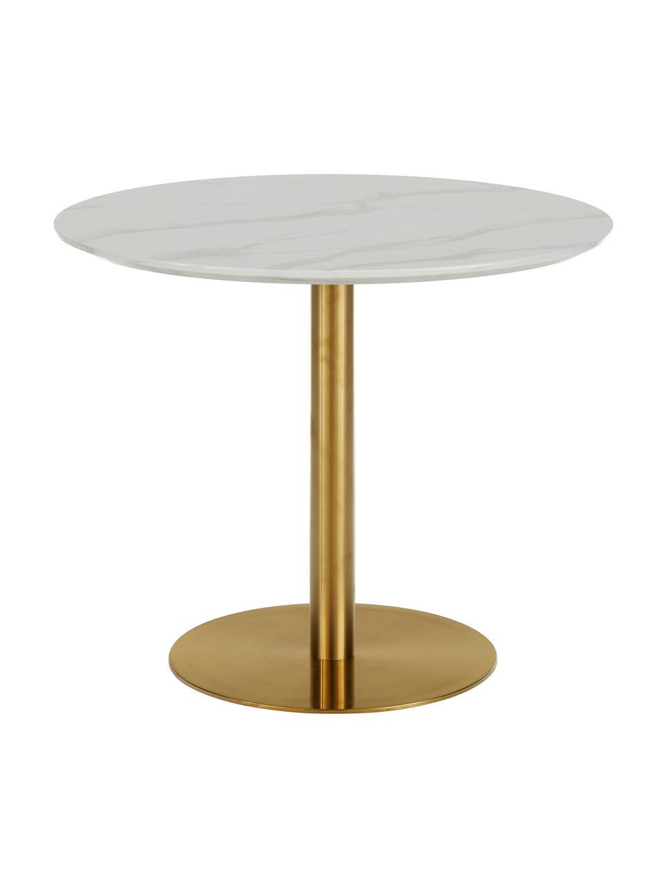 Tavolo rotondo effetto marmo bianco/dorato Karla, Ø 90 cm, Bianco con  effetto marmo, Ø 90 x Alt. 75 cm