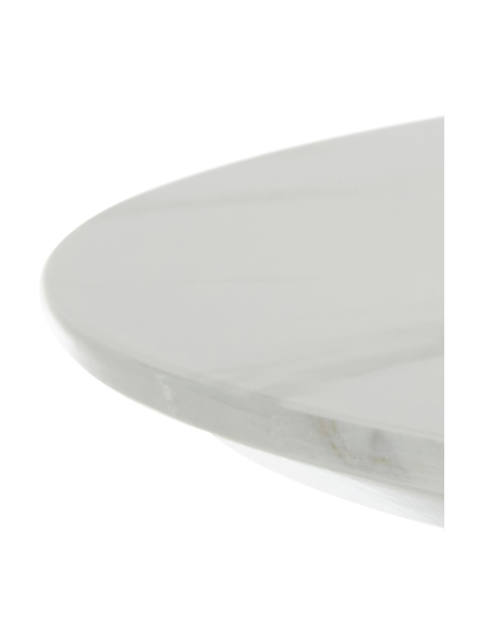 Okrągły stół do jadalni z imitacji marmuru Karla, Blat: płyta pilśniowa średniej , Blat: biały, marmurowy Noga stołu: odcienie złotego, matowy, Ø 90 x W 75 cm