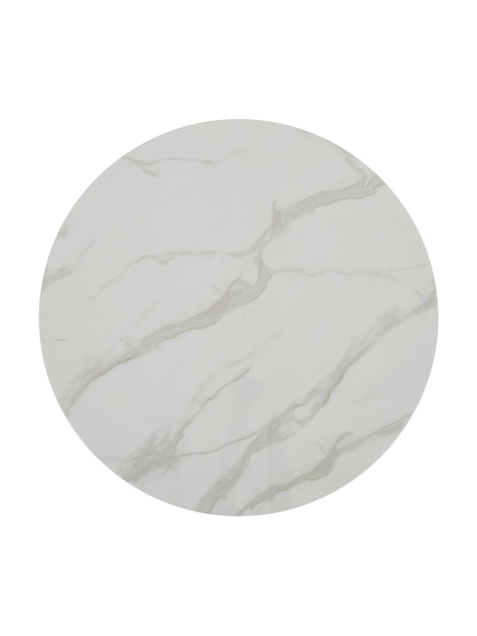Table ronde blanche dorée Karla, Blanc marbré