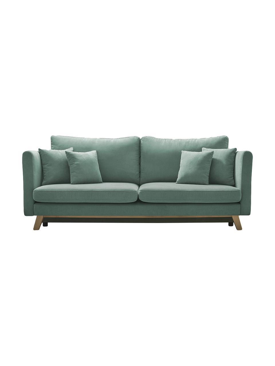Sofa rozkładana z miejscem do przechowywania Triplo (3-osobowa), Tapicerka: 100% poliester, w dotyku , Nogi: metal lakierowany, Zielony miętowy, S 216 x G 105 cm