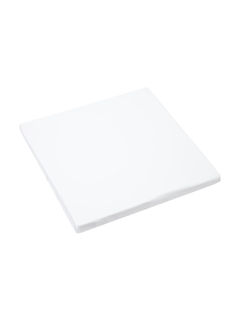 Lenzuolo con angoli in jersey-elastan bianco Lara, 95% cotone, 5% elastan, Bianco, Larg. 140 x Lung. 200 cm
