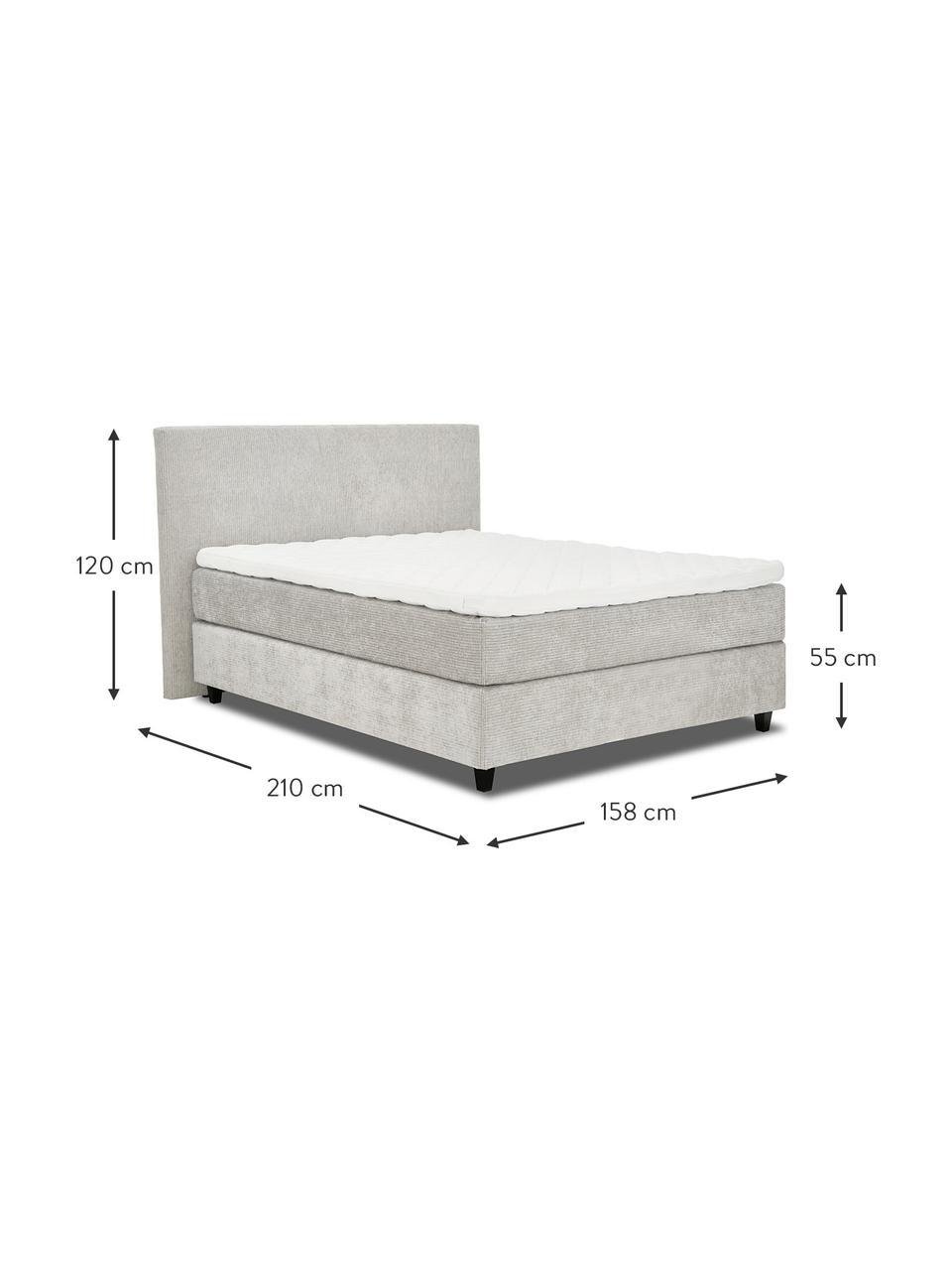 Łóżko kontynentalne premium ze sztruksu Eliza, Nogi: lite drewno brzozowe, lak, Sztruksowy jasny szary, S 200 x D 200 cm
