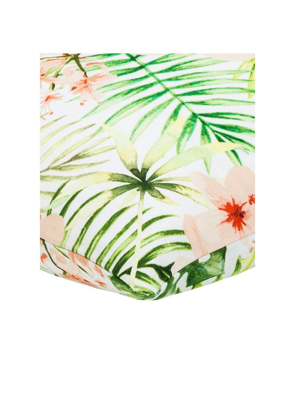 Kissenhülle Jenna mit tropischem Muster in Grün/Rosa, 100% Baumwolle, Mehrfarbig, 40 x 40 cm