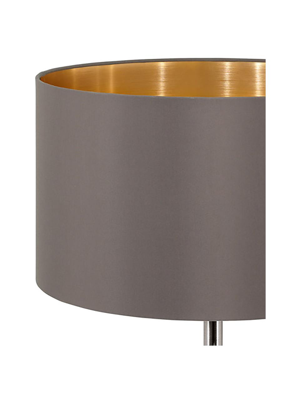 Tischlampe Jamie mit Gold-Dekor, Lampenfuß: Metall, vernickelt, Grau-Beige,Silberfarben, Ø 23 x H 42 cm