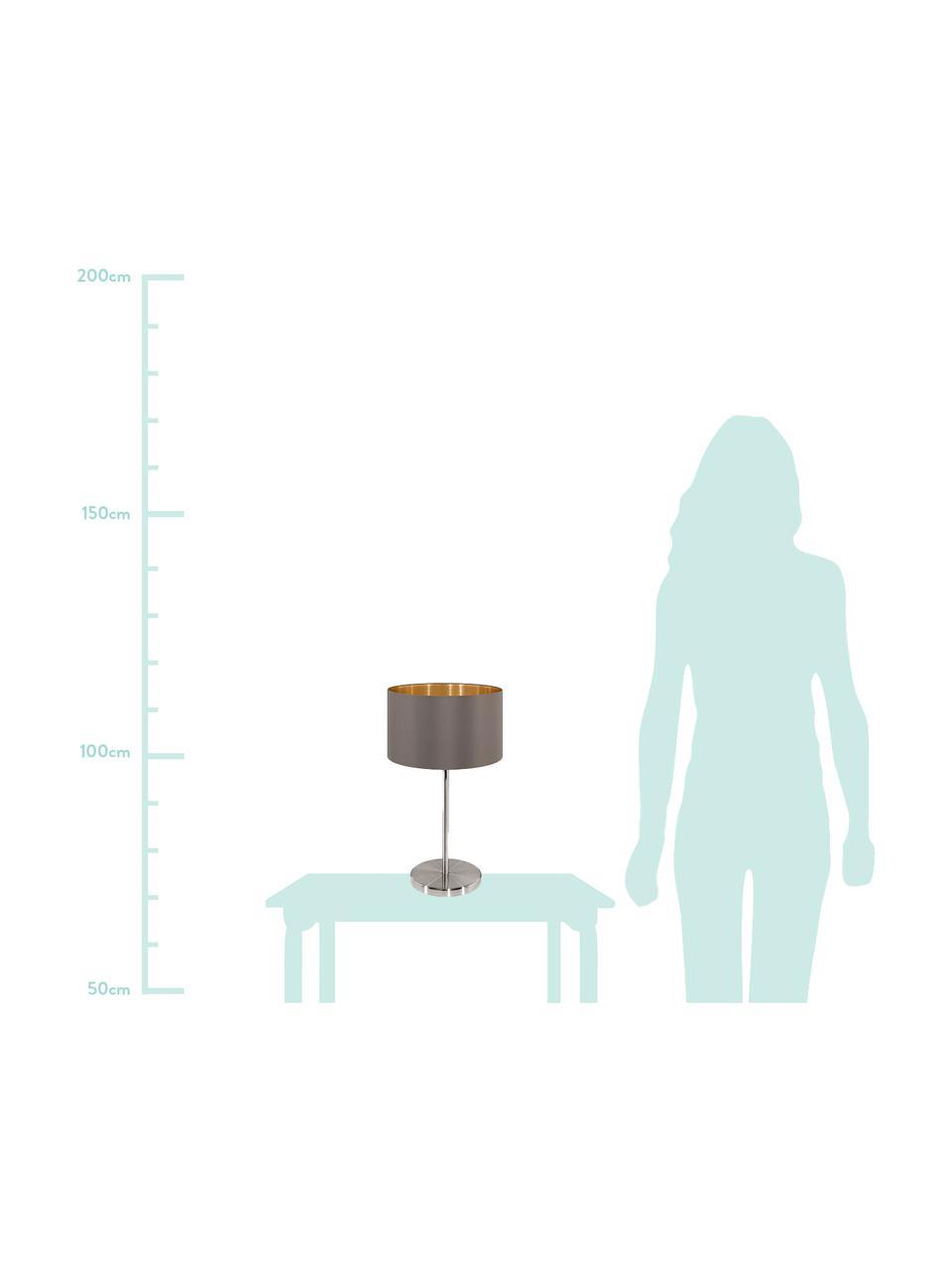 Lampada da tavolo con dettaglio dorato Jamie, Base della lampada: metallo nichelato, Grigio-beige, argentato, Ø 23 x Alt. 42 cm
