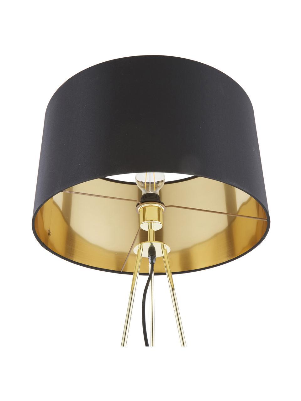 Vloerlamp Jessica met goudkleurig-decoratie, Lampenkap: textiel, Lampvoet: verkoperd metaal, Zwart, koperkleurig, Ø 45 x H 155 cm