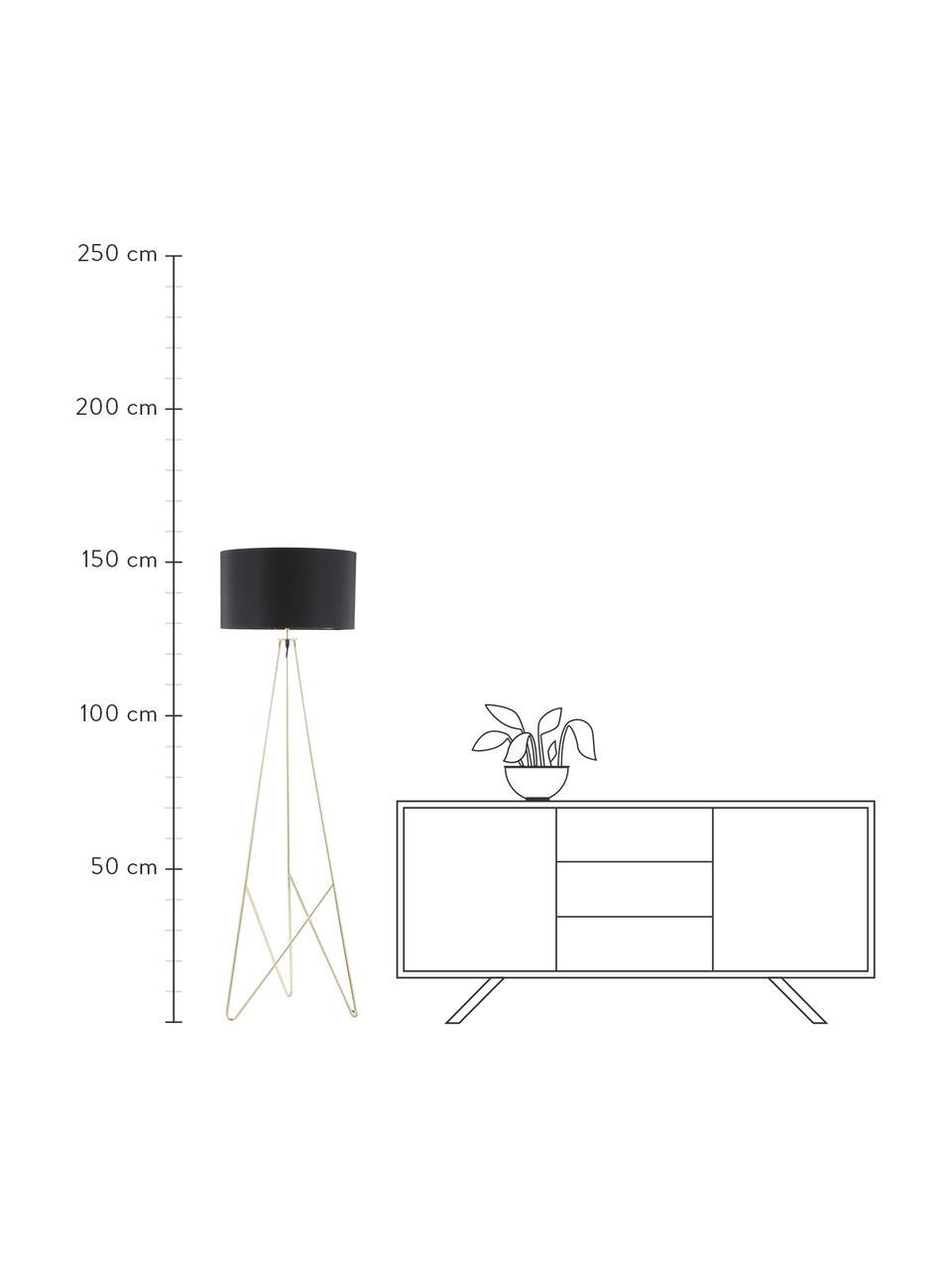 Lampa podłogowa trójnóg Jessica, Czarny, miedź, Ø 45 x W 155 cm