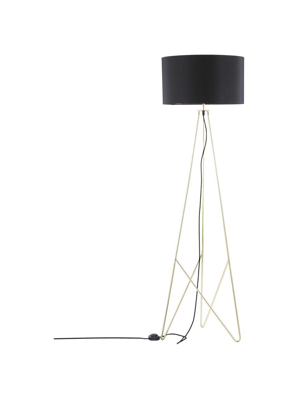 Stehlampe Jessica in Schwarz-Gold, Lampenschirm: Textil, Lampenfuß: Metall, verkupfert, Schwarz, Kupfer, Ø 45 x H 155 cm