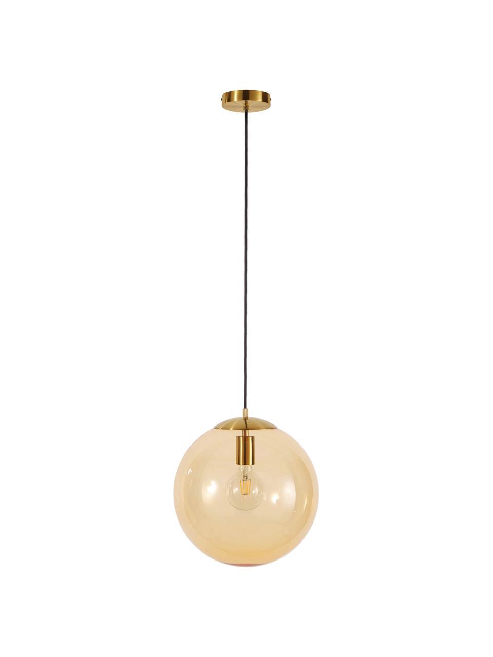 Hanglamp Bao van glas, Lampenkap: glas, Baldakijn: gegalvaniseerd metaal, Goudkleurig, Ø 35 cm