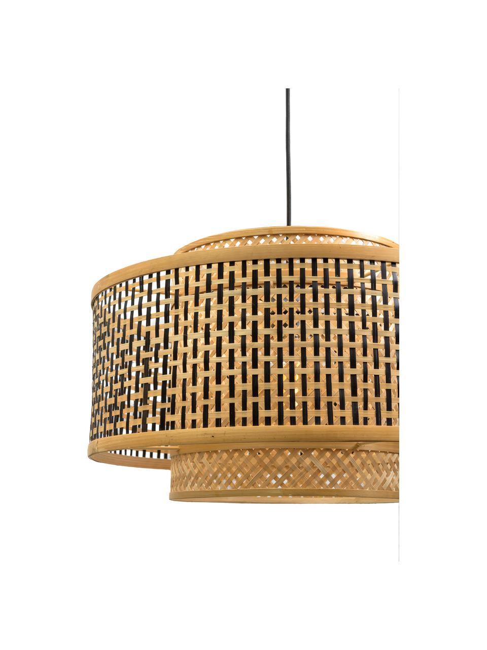 Lámpara arco grande de bambú Bhutan, Pantalla: bambú recubierto, Estructura: bambú recubierto, Cable: cubierto en tela, Beige, negro, Ø 50 x Al 176 cm
