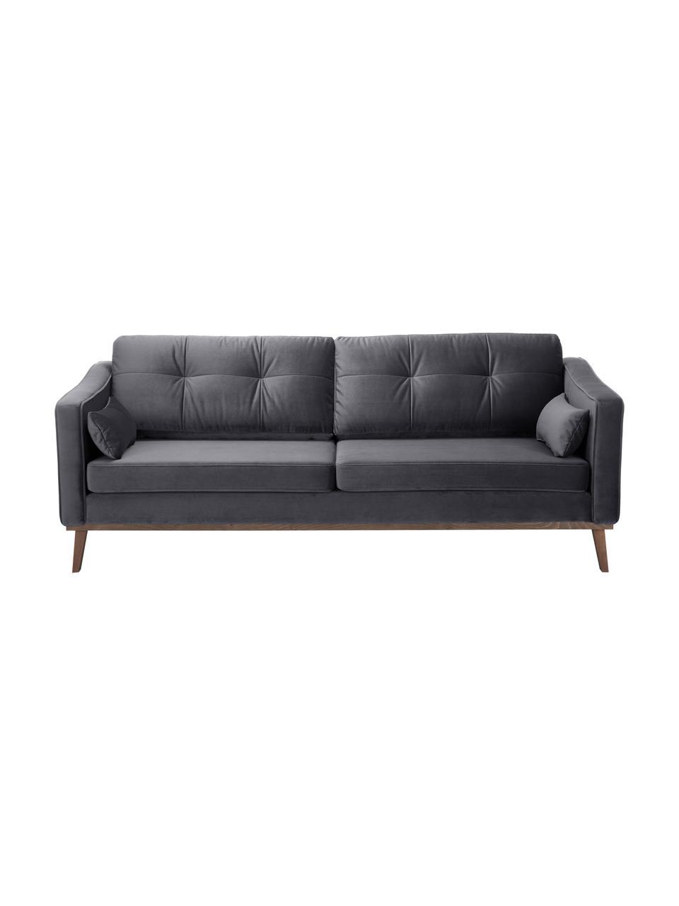 Sofa z aksamitu z nogami z drewna bukowego Alva (3-osobowa), Tapicerka: aksamit (wysokiej jakości, Nogi: lite drewno bukowe, barwi, Aksamitny ciemny szary, S 215 x G 92 cm