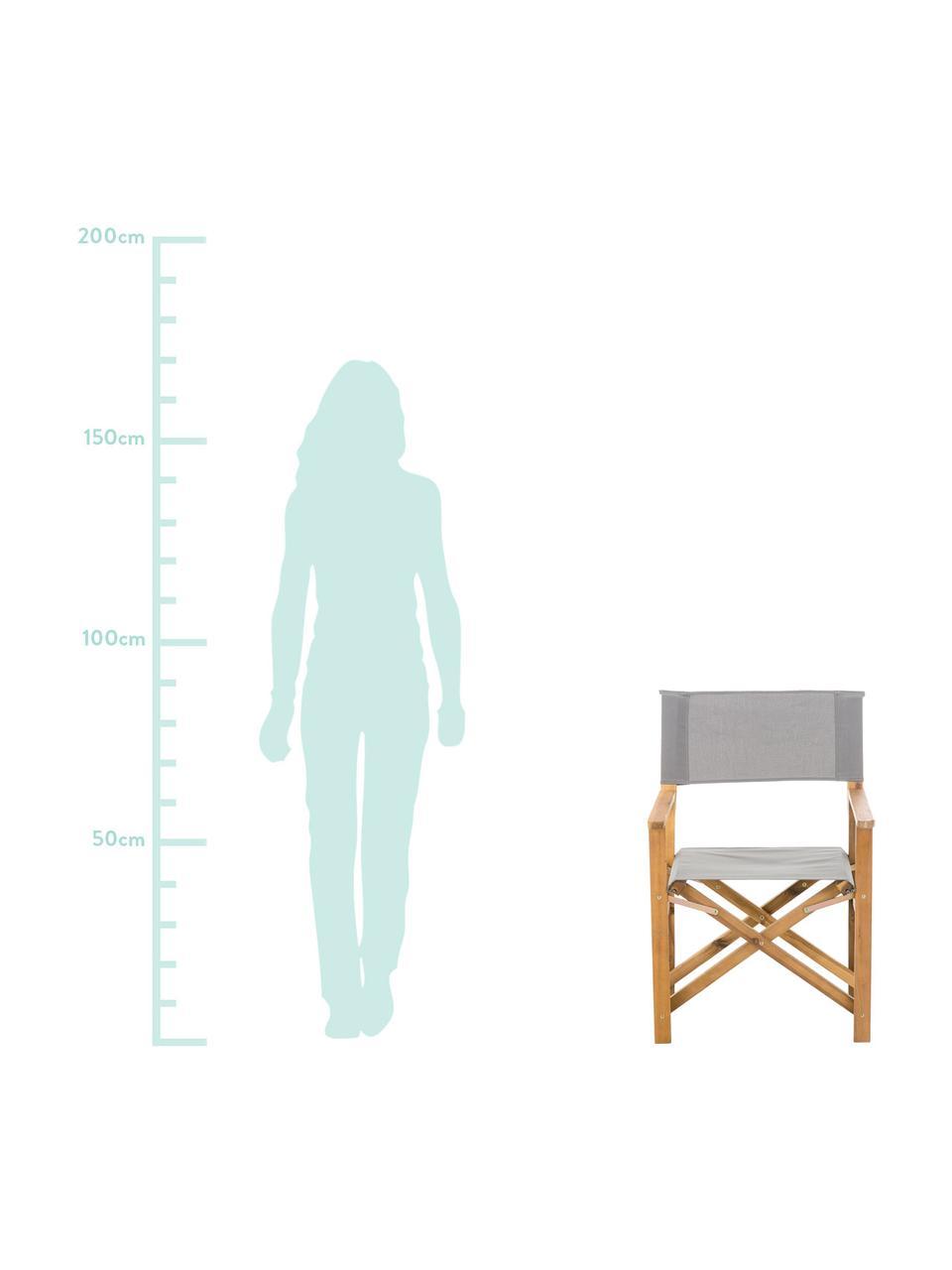 Klappbarer Regiestuhl Zoe mit Holzgestell, Gestell: Akazienholz, geölt, Grau, B 52 x T 58 cm