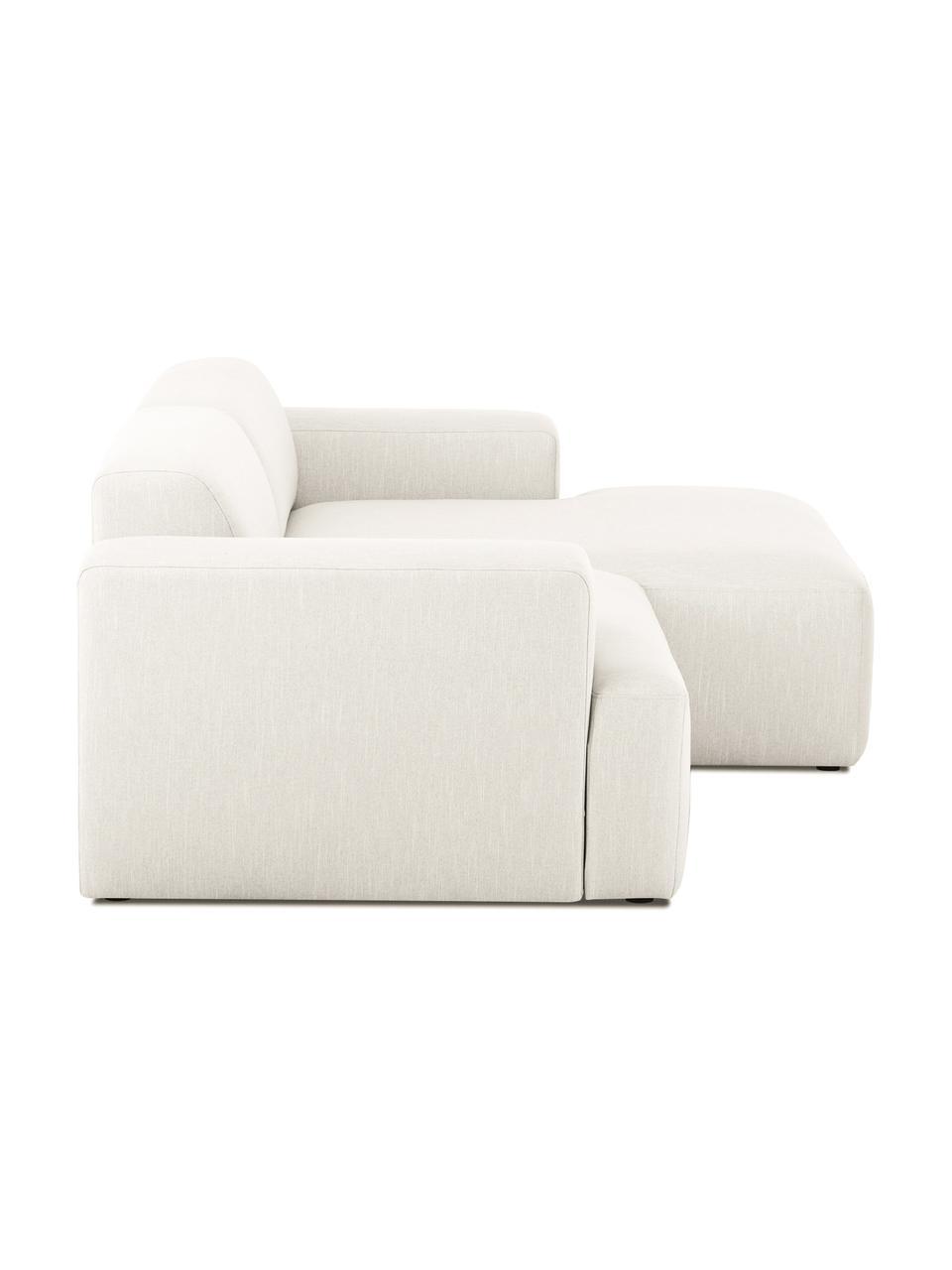 Ecksofa Melva (3-Sitzer) in Beige, Bezug: Polyester Der hochwertige, Gestell: Massives Kiefernholz, Spa, Webstoff Beige, B 240 x T 144 cm