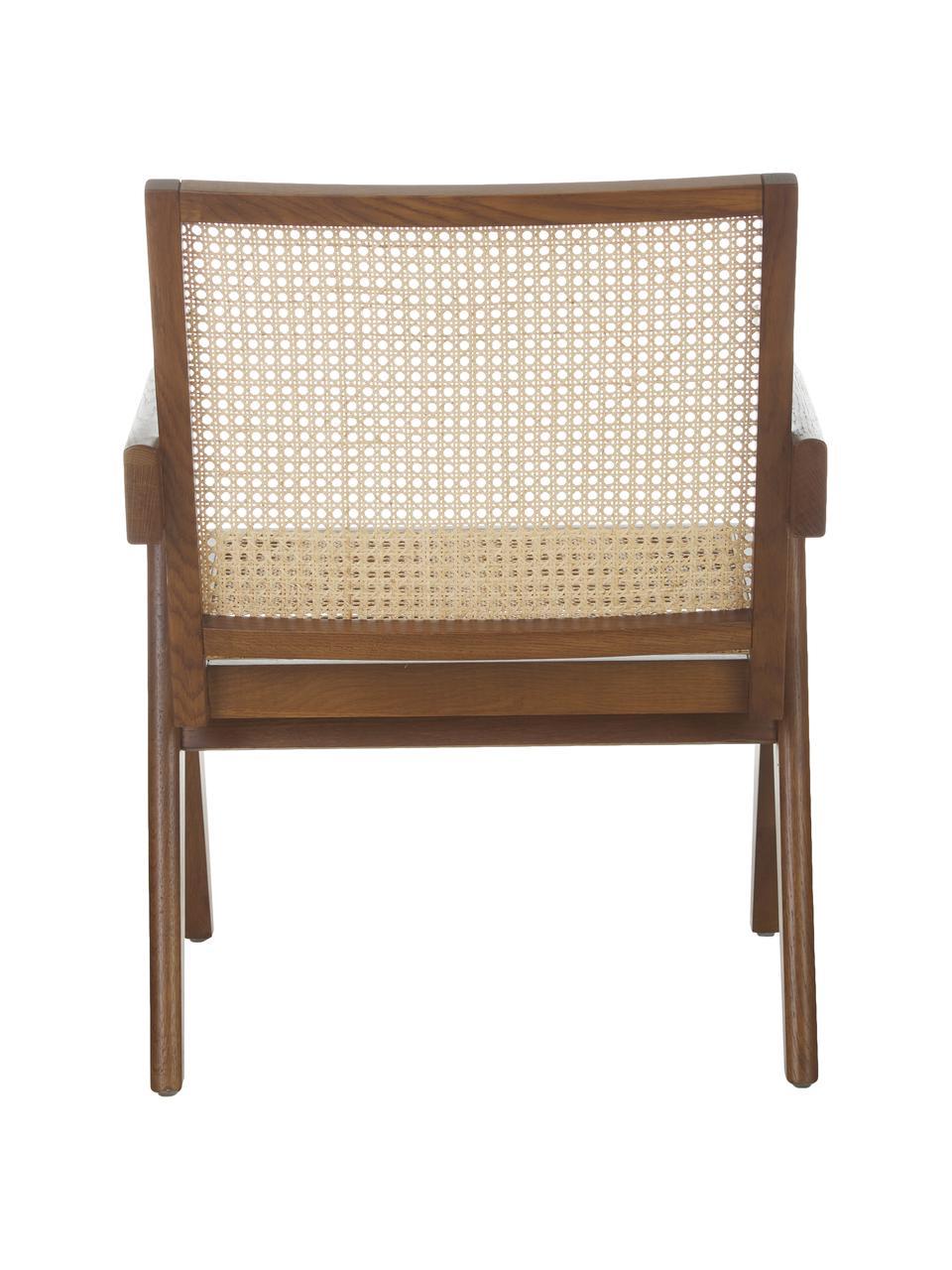 Loungefauteuil Sissi met Weens vlechtwerk, Frame: massief eikenhout, Zitvlak: rotan, Eikenhoutkleurig, 58 x 66 cm