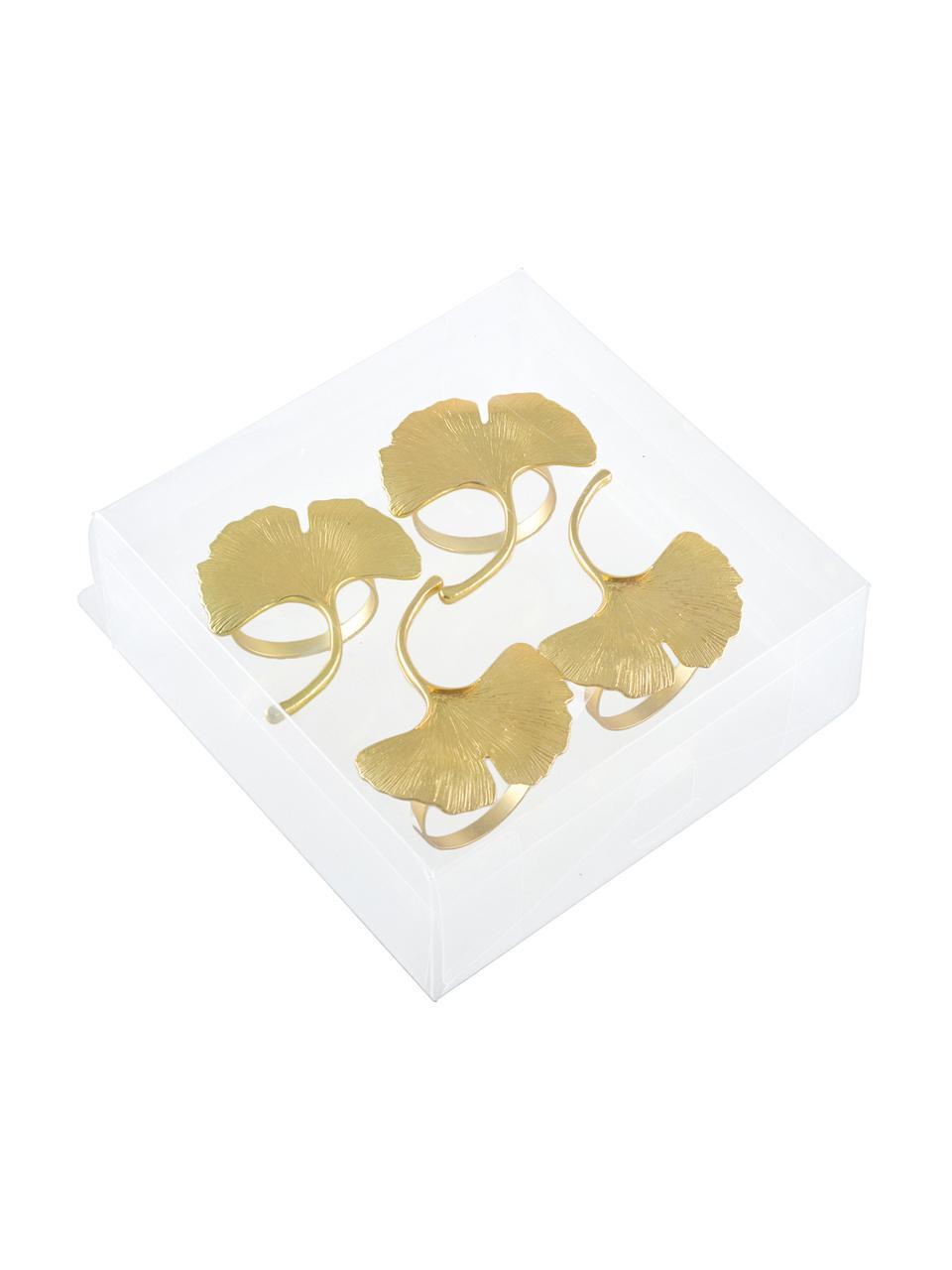 Rond de serviette de table Ginkgo, 4pièces, Couleur dorée