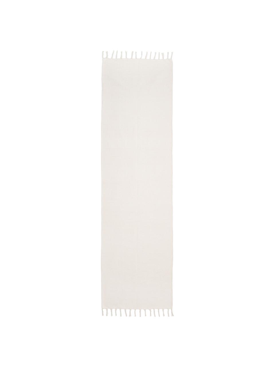 Tapis de couloir fin crème tissé main Agneta, Blanc