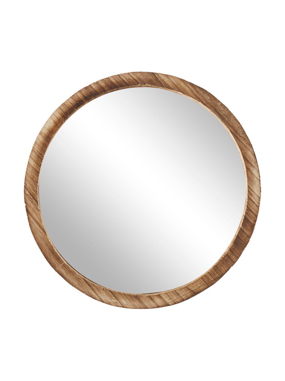 Rundes Wandspiegel-Set Jones mit braunen Paulowniaholzrahmen, 3-tlg., Rahmen: Paulowniaholz, Spiegelfläche: Spiegelglas, Braun, Set mit verschiedenen Größen