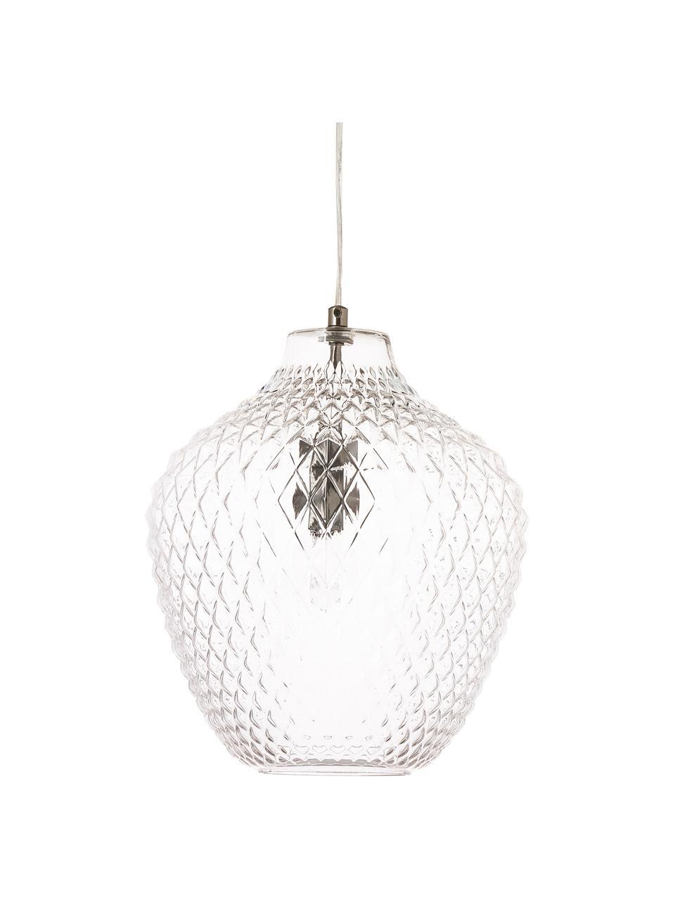 Petite suspension en verre Lee, Transparent, chrome