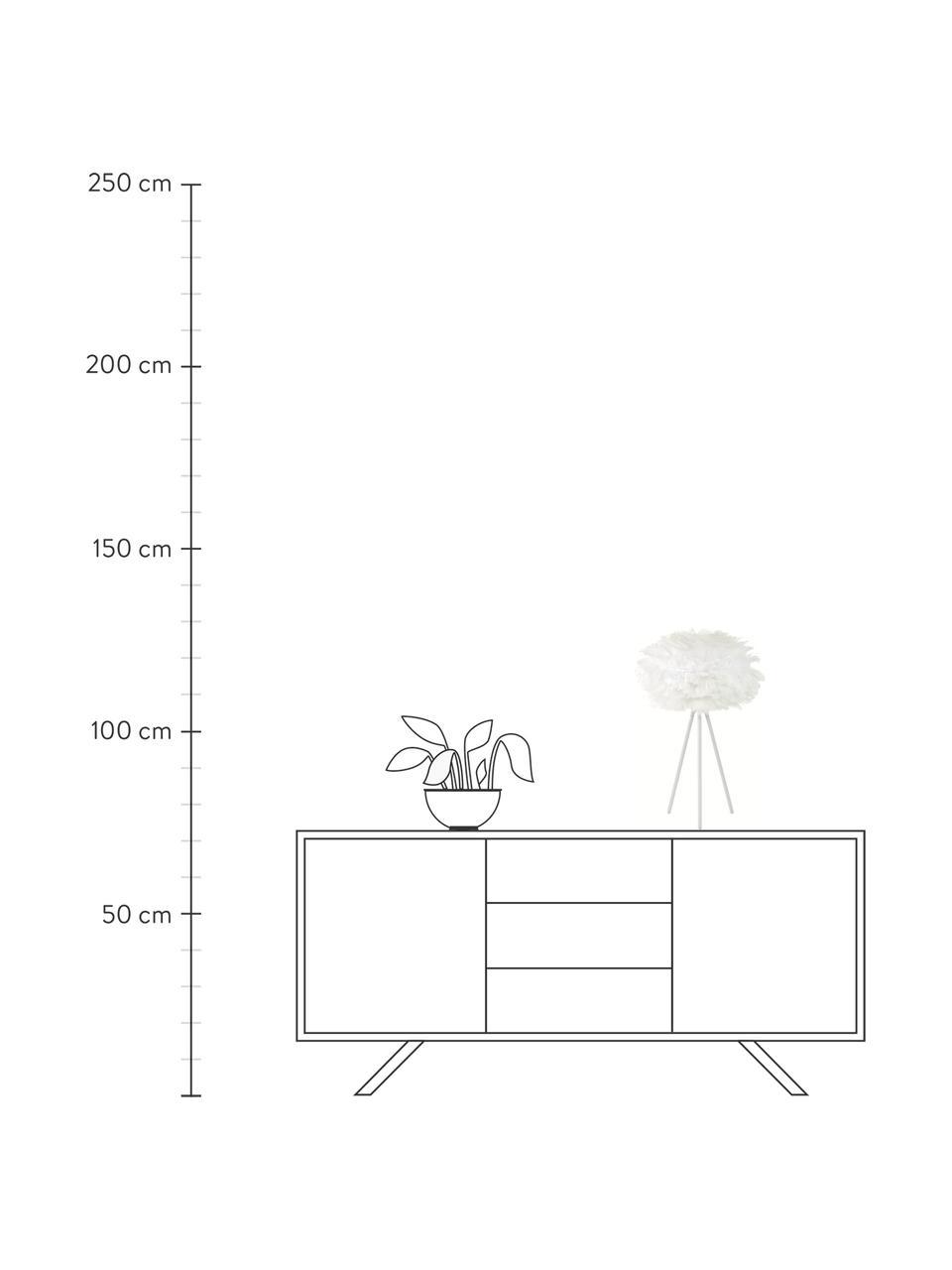 Lampada da tavolo in piume Eos Mini, Paralume: piuma d'oca, acciaio, Base della lampada: alluminio verniciato a po, Bianco, Ø 35 x Alt. 56 cm
