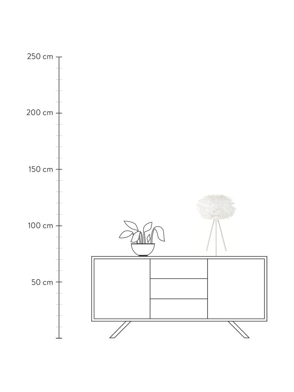 Lampada da tavolo treppiede in piume Eos, Paralume: piuma d'oca, acciaio, Base della lampada: alluminio verniciato a po, Bianco, Ø 35 x Alt. 56 cm