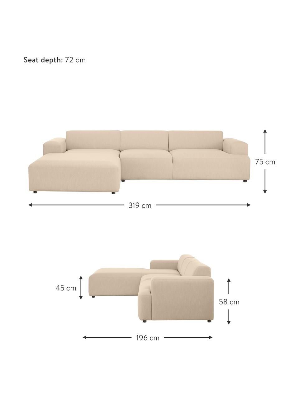 Canapé d'angle 4 places beige foncé Melva, Tissu beige foncé