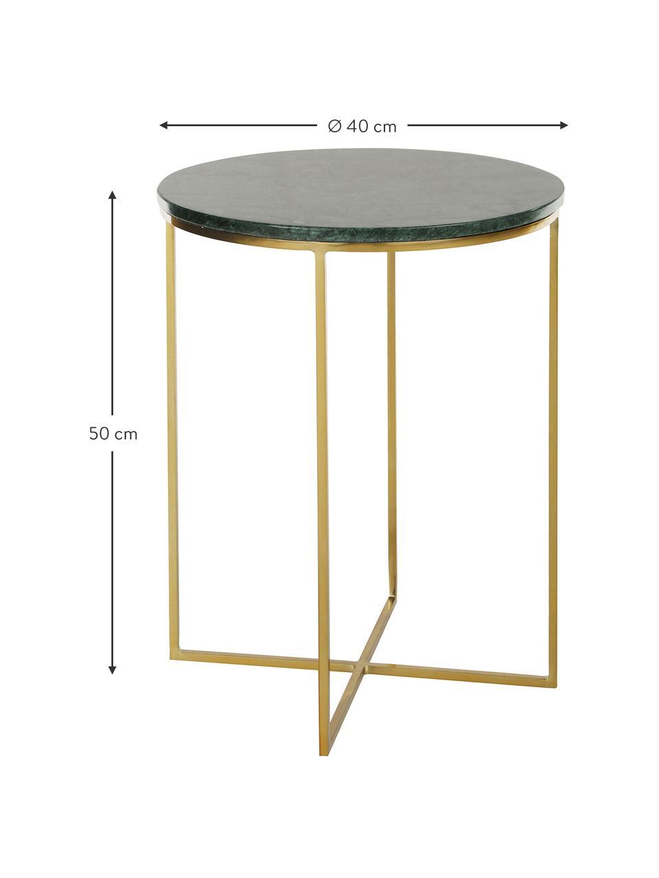 Runder Marmor-Beistelltisch Alys, Tischplatte: Marmor, Gestell: Metall, pulverbeschichtet, Grüner Marmor, Goldfarben, Ø 40 x H 50 cm
