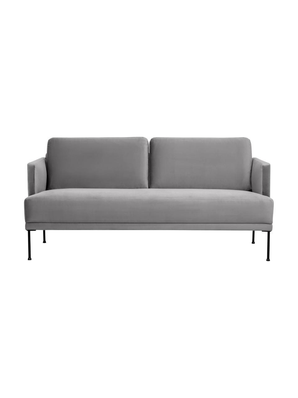 Sofa z aksamitu z metalowymi nogami Fluente (2-osobowa), Tapicerka: aksamit (wysokiej jakości, Nogi: metal malowany proszkowo, Aksamitny jasny szary, S 166 x G 85 cm