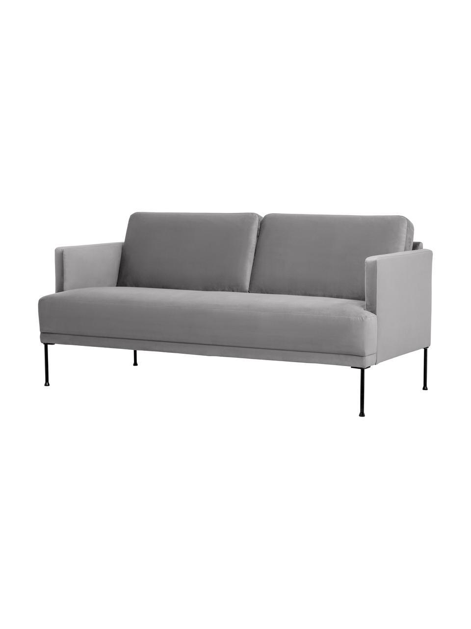 Canapé 2places velours gris clair pieds en métal Fluente, Velours gris clair