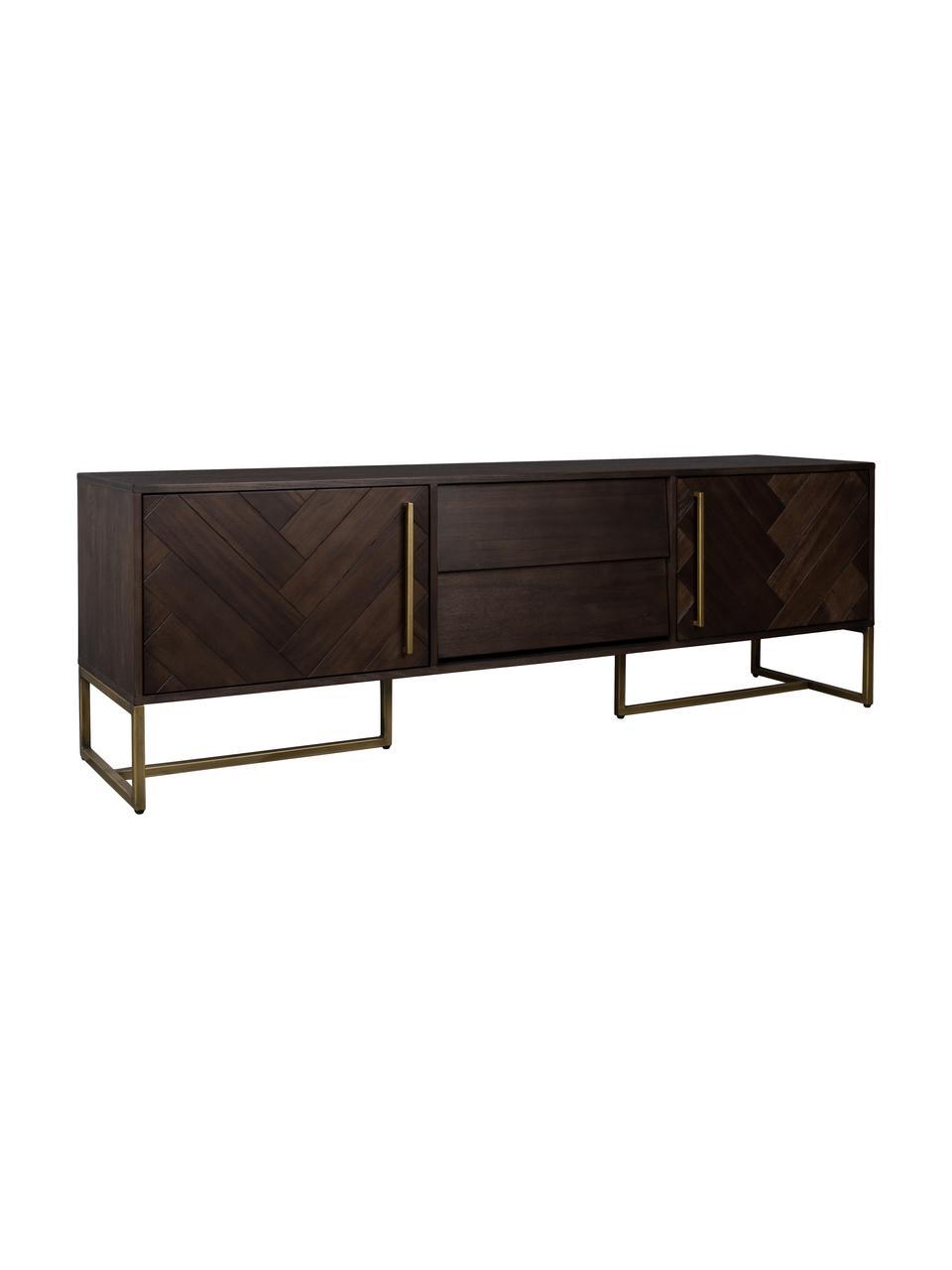 Visgraat dressoir Class met acaciahoutfineer, Frame: MDF met acaciahout, Frame: bruin. Poten en handgrepen: messingkleurig, 180 x 60 cm