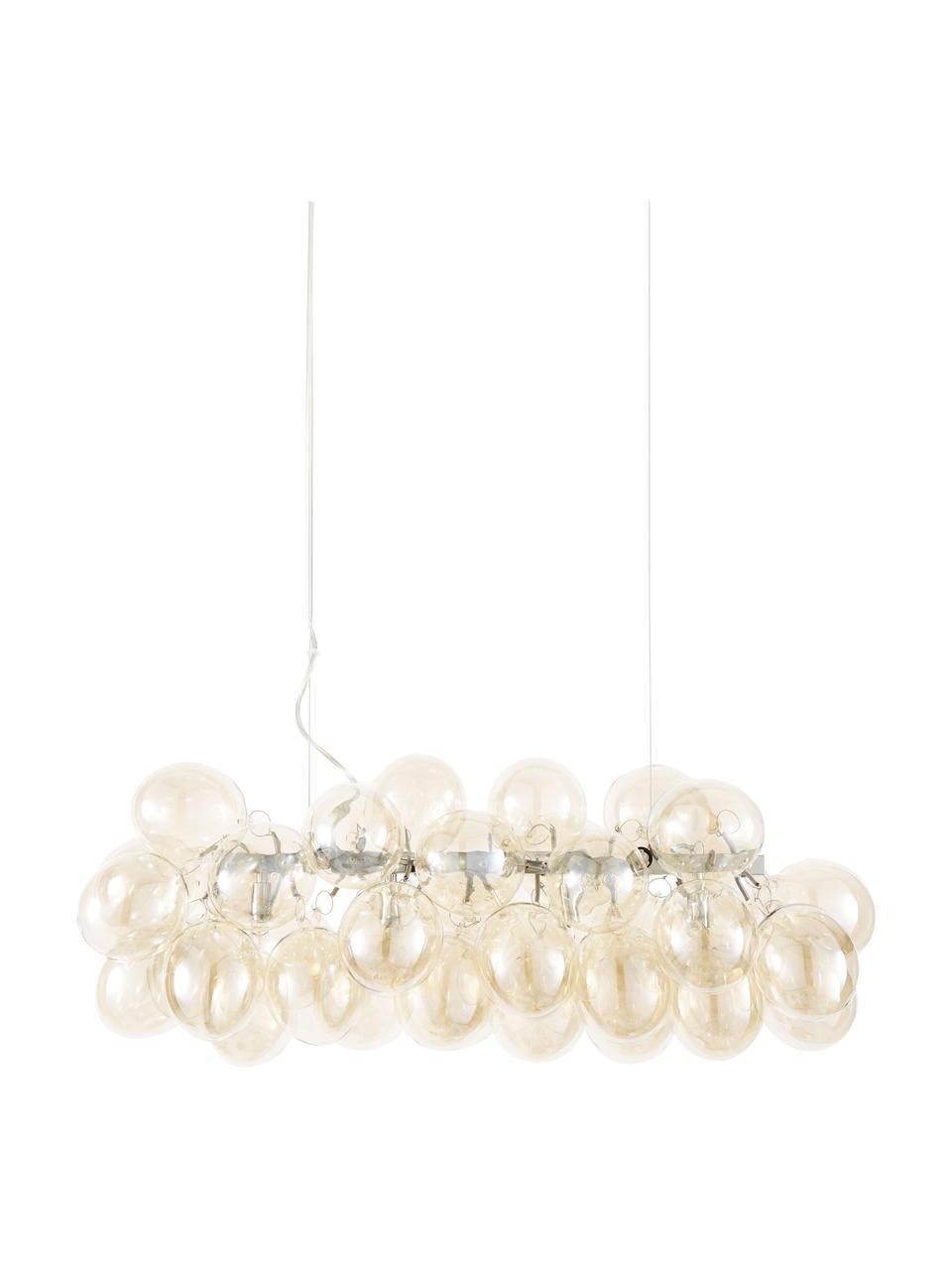 Lampada a sospensione con sfere di vetro Gross Bar, Baldacchino: nichel cromato, Ambrato, Larg. 80 x Alt. 36 cm
