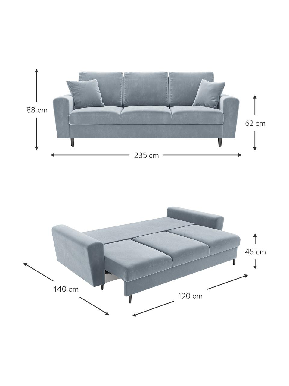 Sofa rozkładana z aksamitu z miejscem do przechowywania Moghan (3-osobowa), Tapicerka: aksamit poliestrowy Dzięk, Stelaż: lite drewno sosnowe, skle, Nogi: metal lakierowany, Jasny niebieski, czarny, S 235 x G 100 cm