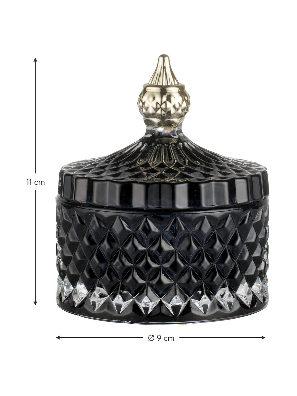 Opbergpot Miya, Glas, Zwart, goudkleurig, Ø 9 x H 11 cm