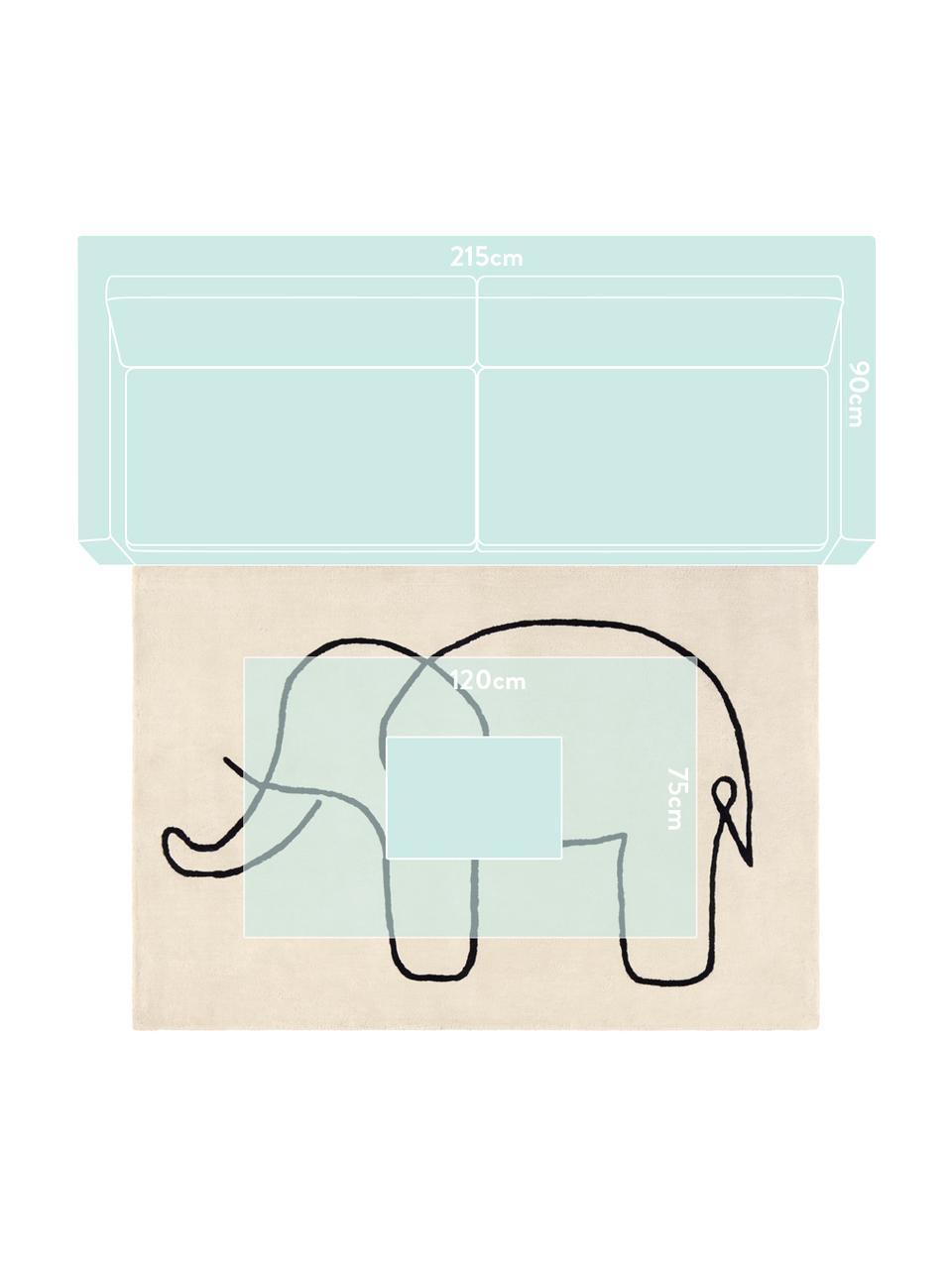 Koberec Sketchy Elephant, Krémově bílá, černá