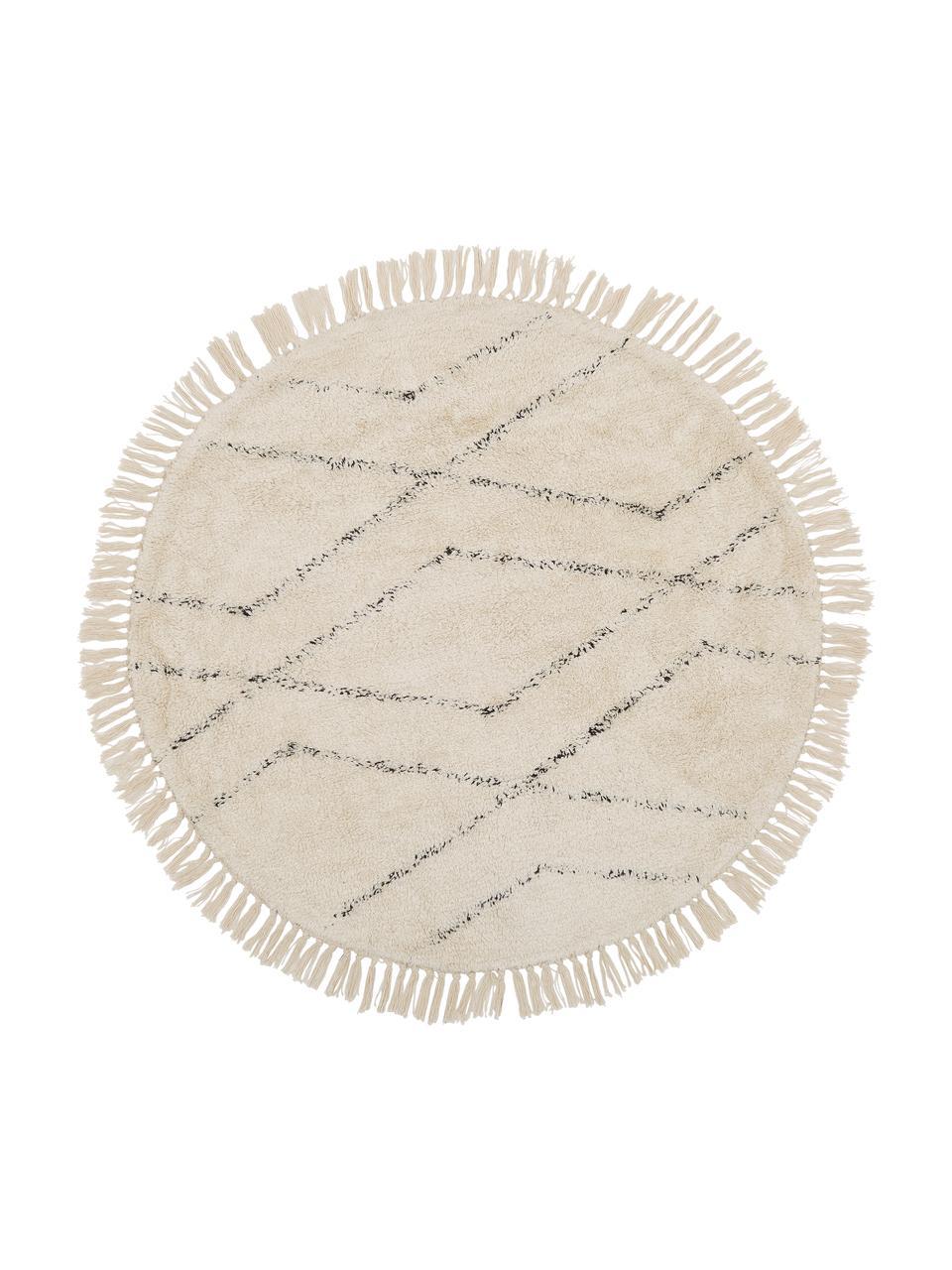 Rond katoenen vloerkleed Bina met ruitjesmotief, handgetuft, Beige, zwart, Ø 150 cm (maat M)
