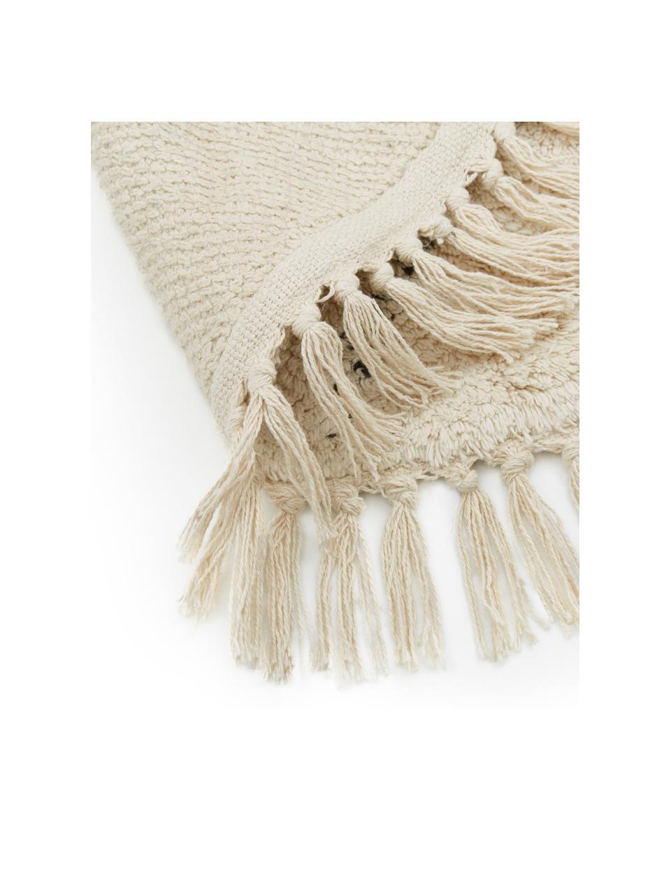 Okrągły ręcznie tuftowany dywan z bawełny Bina, 100% bawełna, Beżowy, czarny, Ø 150 cm (Rozmiar M)