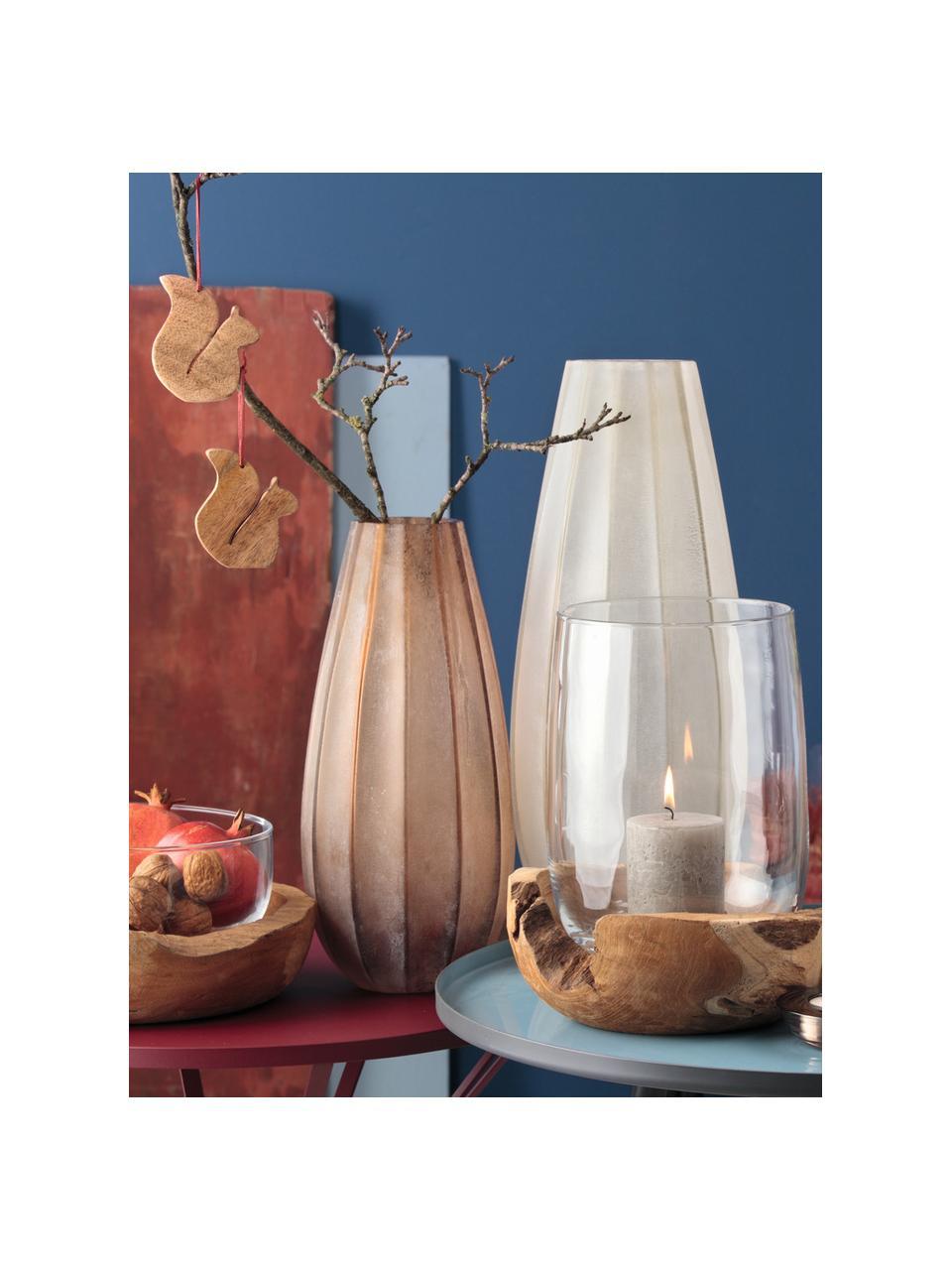 Große handgefertigte Glasvase Ferrara, Glas, Braun, Ø 16 x H 35 cm