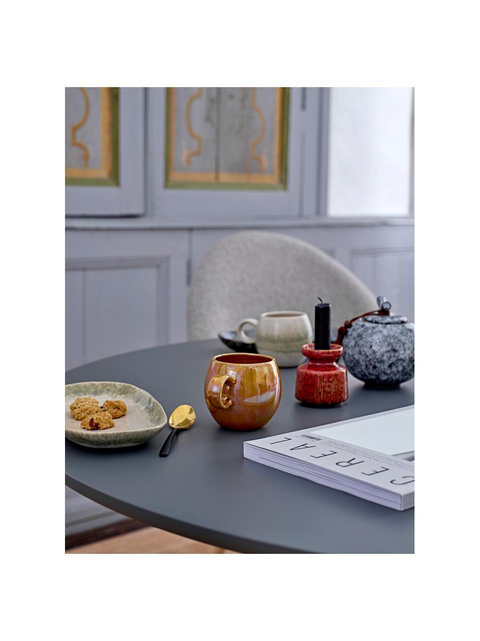 Handgemachte Servierplatte Paula mit effektvoller Glasur, L 24 x B 13 cm, Steingut, Grün, Beige, 13 x 24 cm