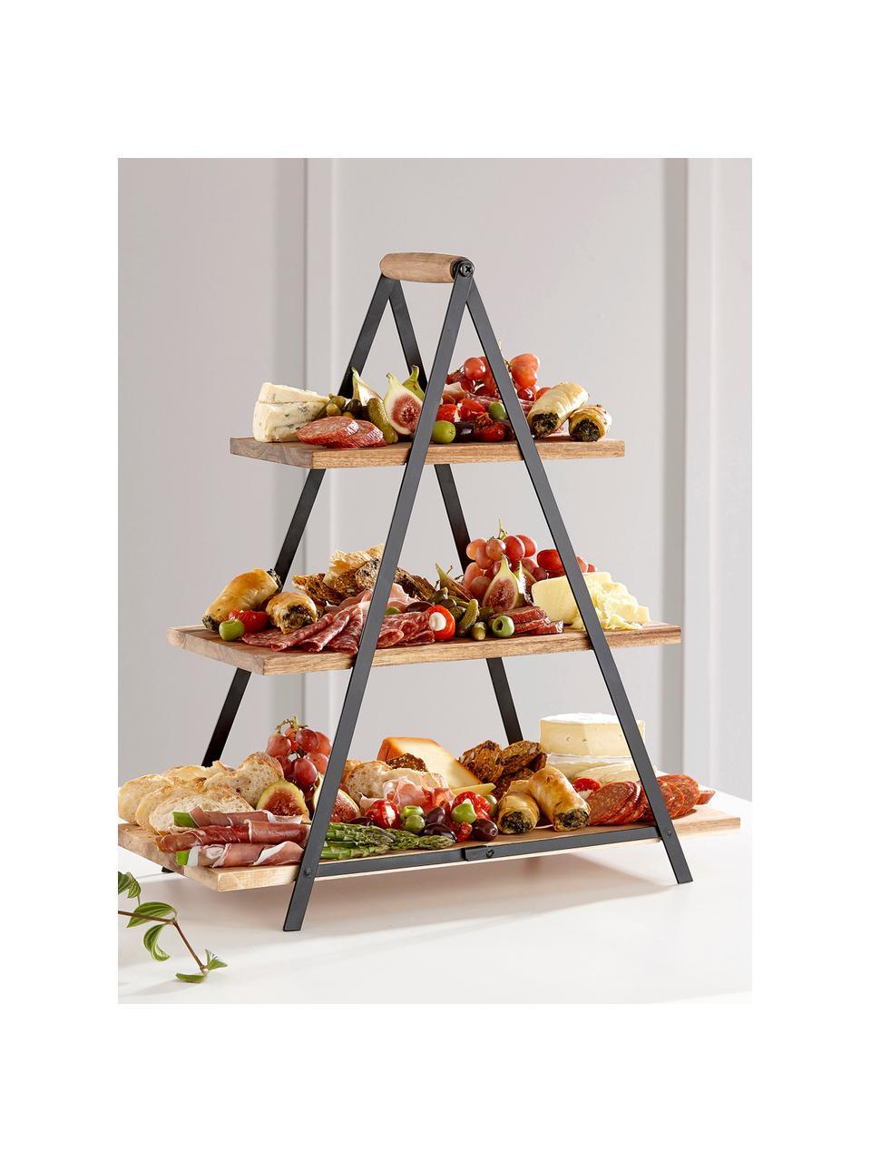 Présentoir à gâteaux bois de manguier Serve, Brun